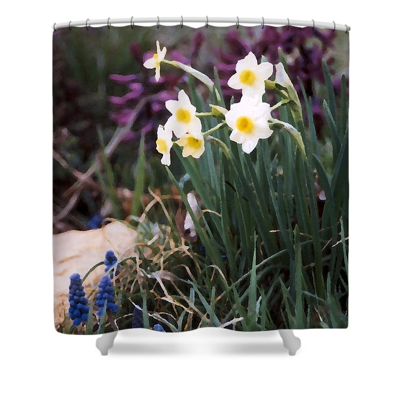 Flowers Shower Curtain featuring the photograph Spring Garden by Steve Karol