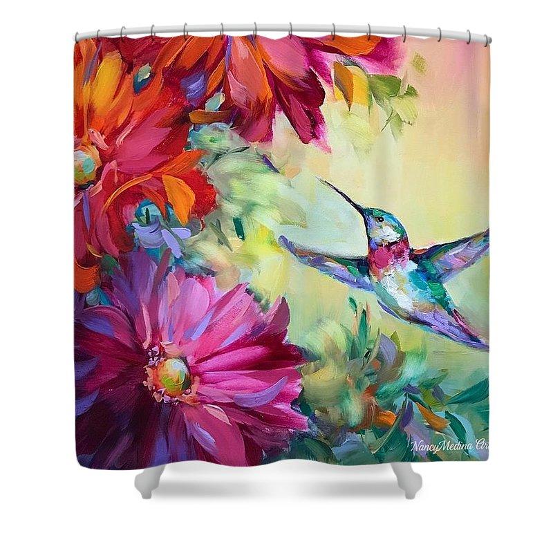 Spring Harbinger Hummingbird Shower Curtain For Sale By Nancy Medina