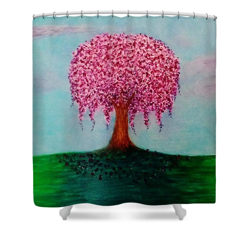 Spring Shower Curtain featuring the pastel Spring In Bloom by Crystal Menicola