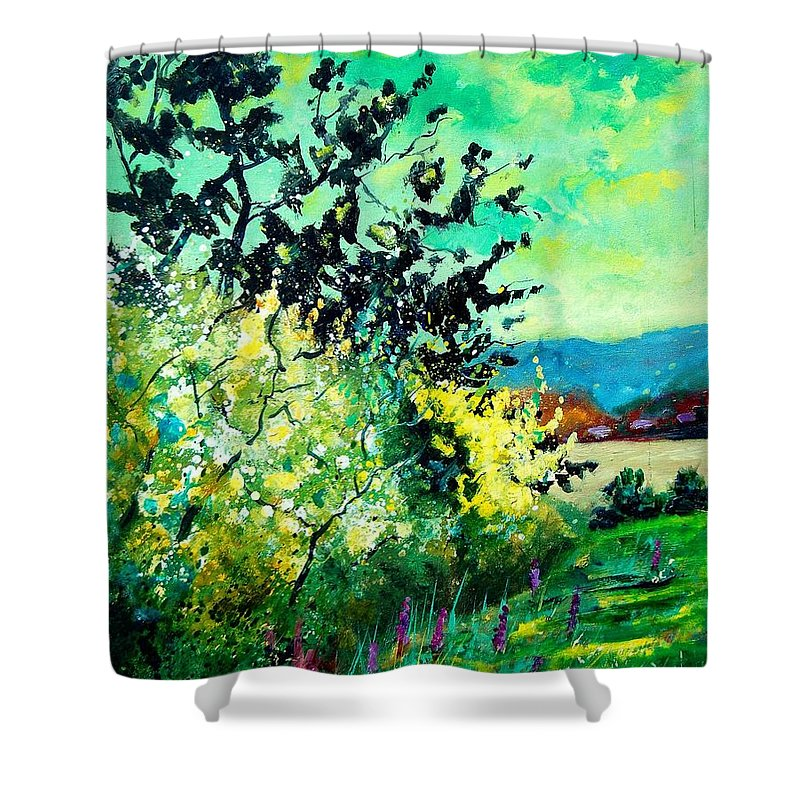 Spring Shower Curtain featuring the painting spring in Ciergnon by Pol Ledent
