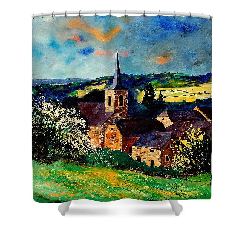 Spring Shower Curtain featuring the painting Spring In Gendron by Pol Ledent