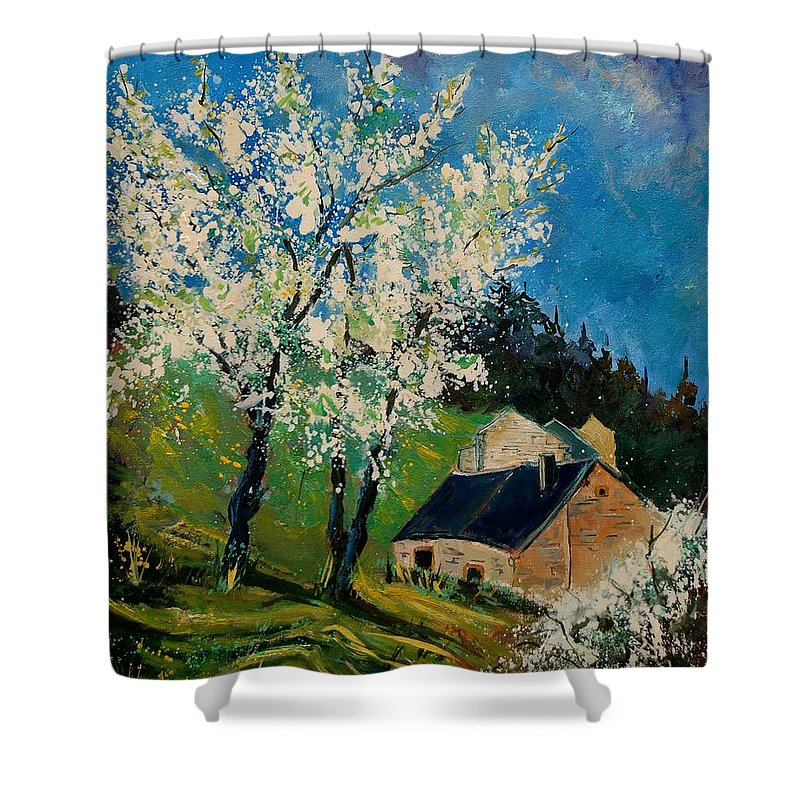 Spring Shower Curtain featuring the painting Spring In Hierges by Pol Ledent