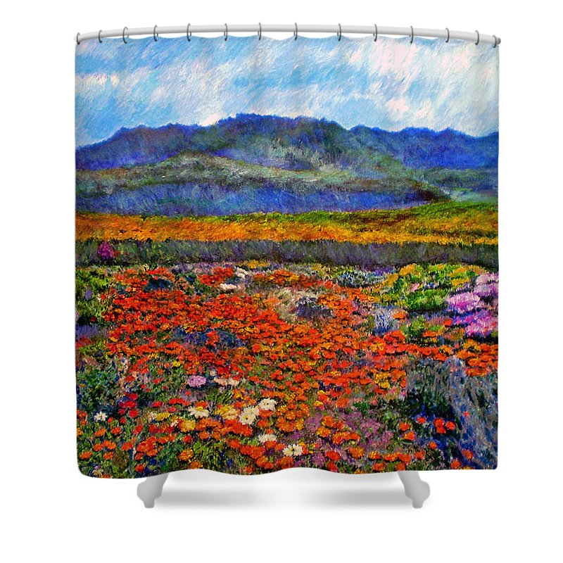 Spring Shower Curtain featuring the painting Spring In Namaqualand by Michael Durst