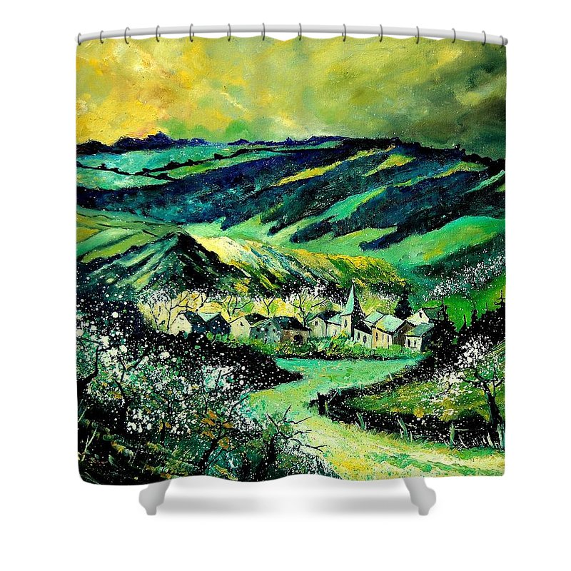 Landscape Shower Curtain featuring the painting Spring In Tha Ardennes by Pol Ledent
