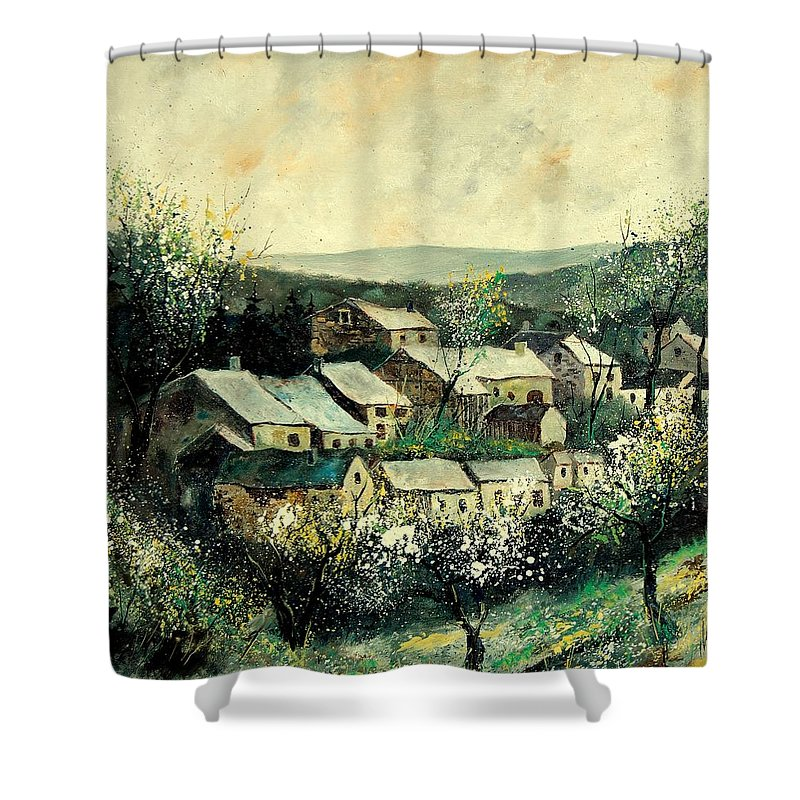 Spring Shower Curtain featuring the painting Spring in the Ardennes Belgium by Pol Ledent