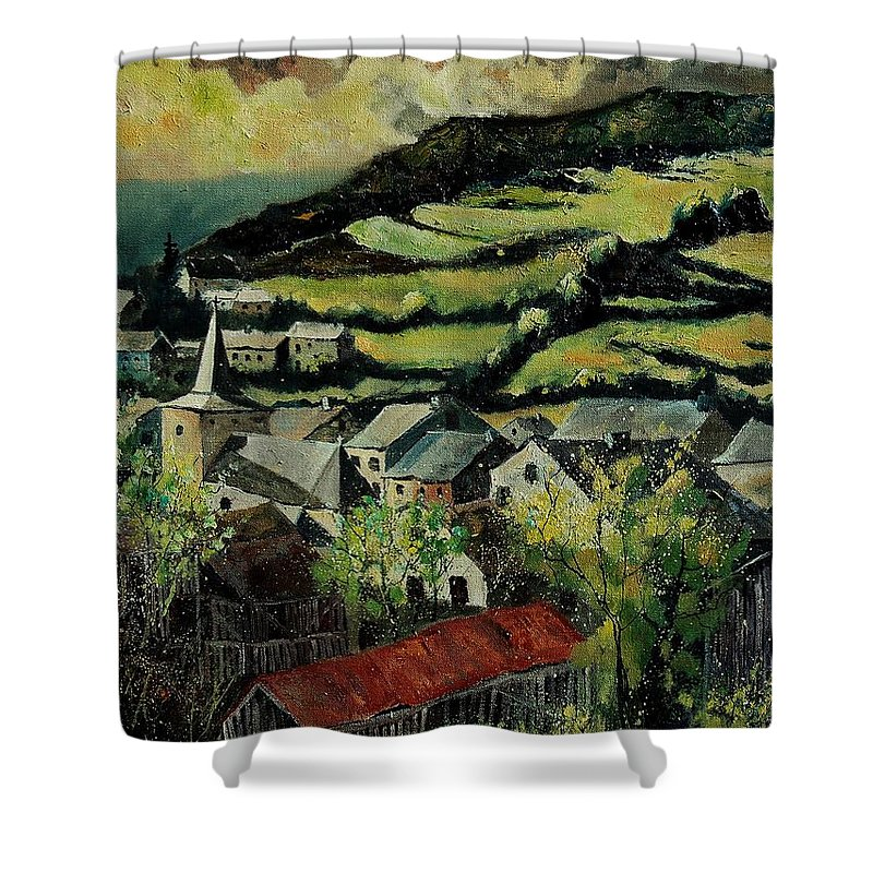 Spring Shower Curtain featuring the painting Spring In Vresse Ardennes Belgium by Pol Ledent