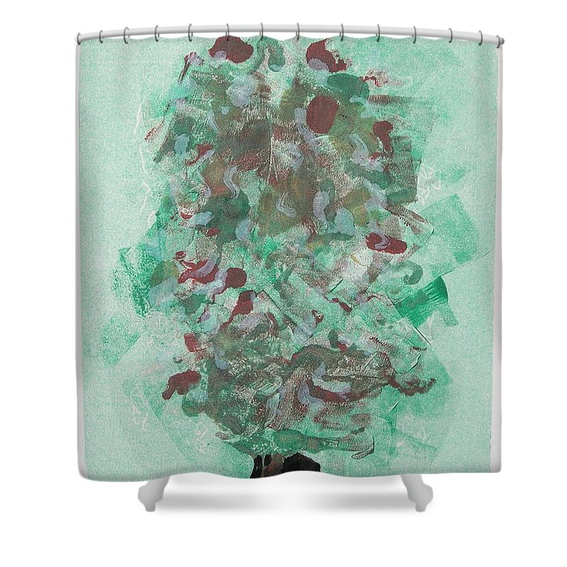 Monoprint Shower Curtain featuring the mixed media Spring Interlude by Cori Solomon