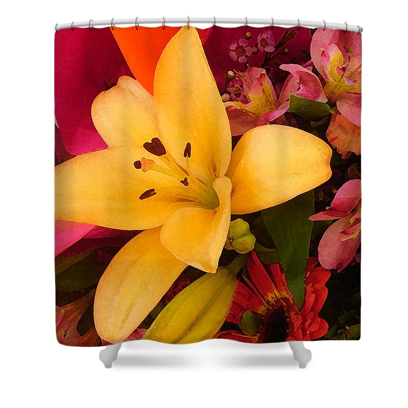 Lily Shower Curtain featuring the painting Spring Lily Bouquet by Amy Vangsgard