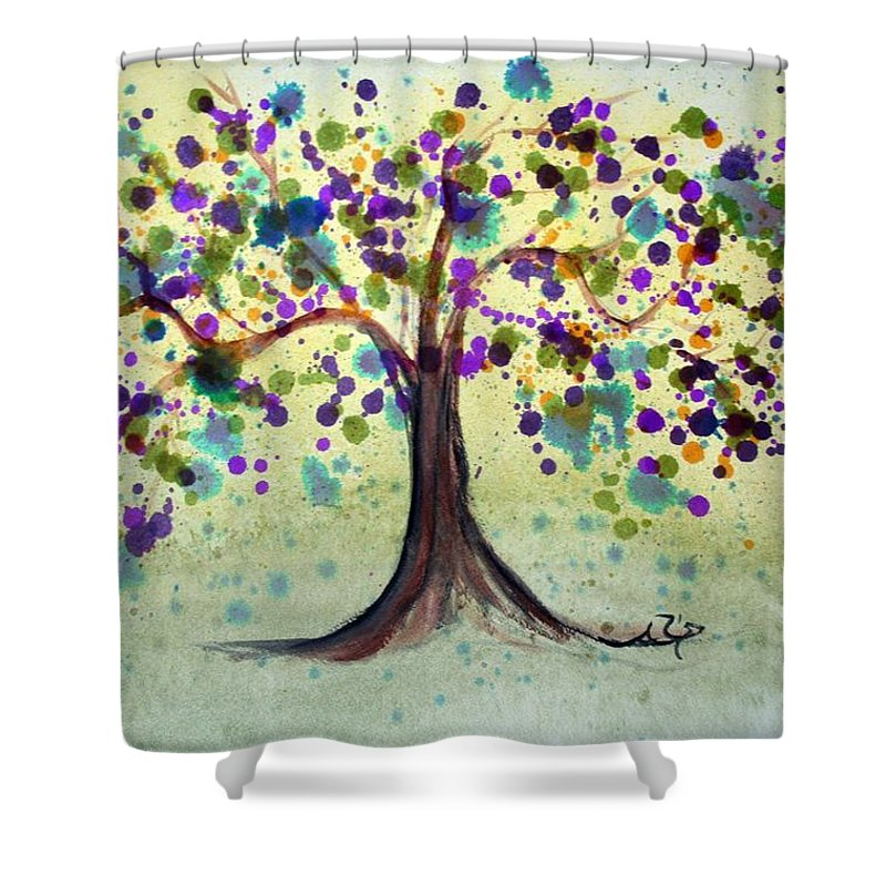 Spring Shower Curtain featuring the painting Colorful Tree by Alma Yamazaki