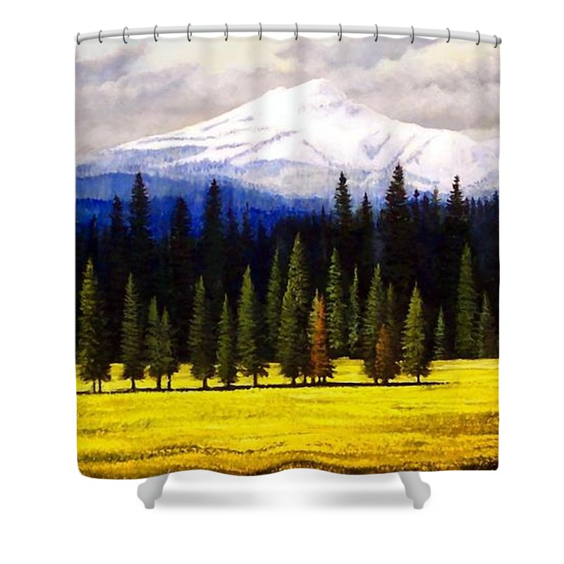 Landscape Shower Curtain featuring the painting Spring Meadow Mount Brokeoff by Frank Wilson