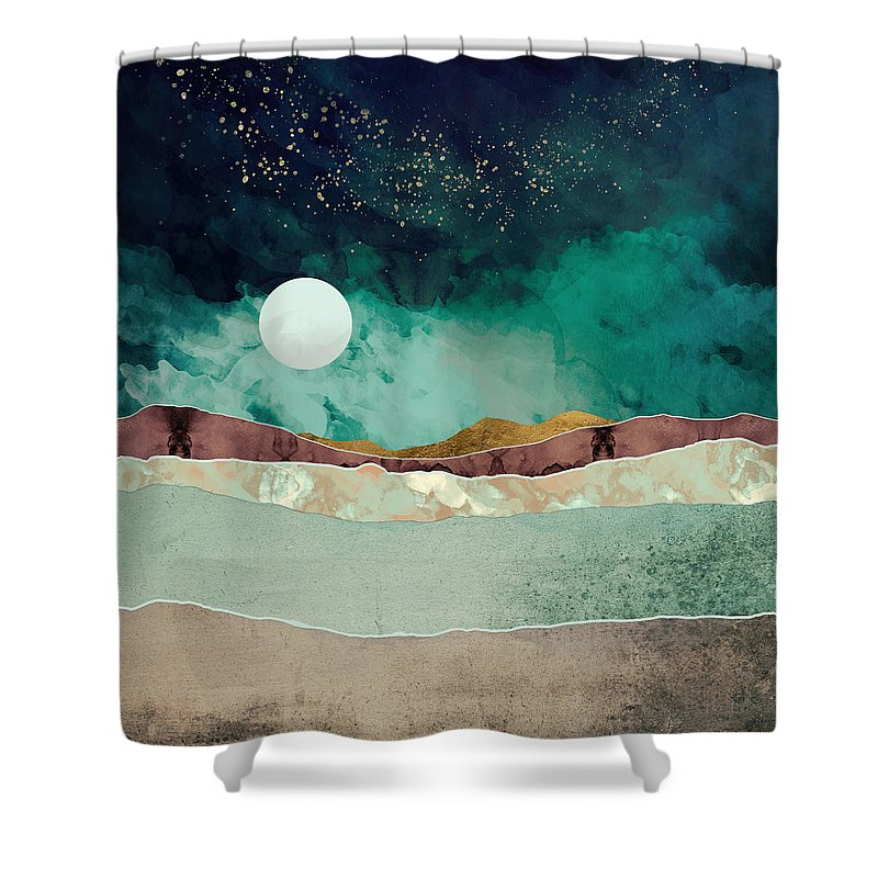 Spring Shower Curtain featuring the digital art Spring Night by Katherine Smit