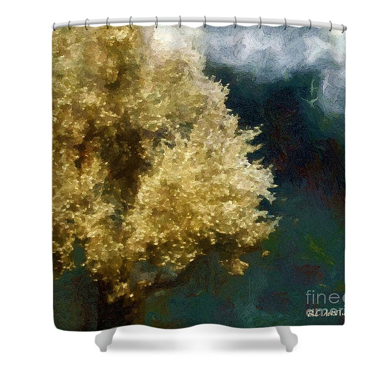 Apple Tree Shower Curtain featuring the painting Spring Nor'easter by RC DeWinter