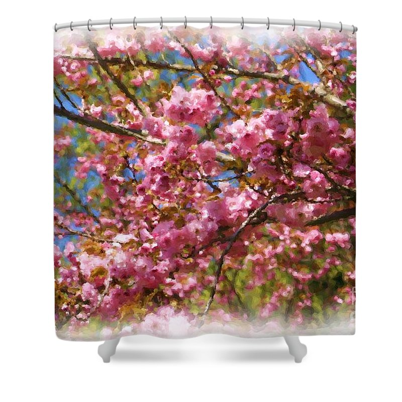 Flower Shower Curtain featuring the painting Spring Pink Blossoms by Smilin Eyes Treasures