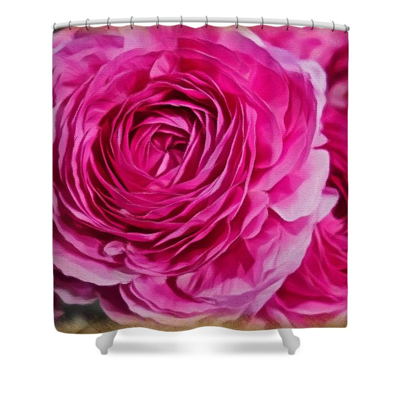 Pink Roses Shower Curtain featuring the painting Spring Pink Roses by Joan Reese