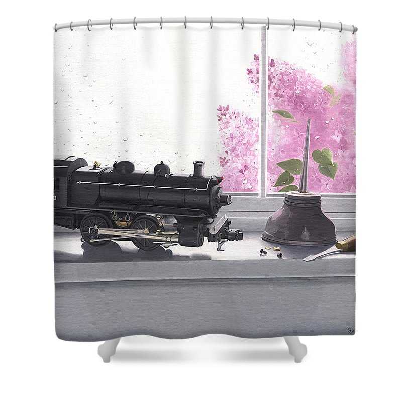 Lionel Shower Curtain featuring the painting Spring Rain Electric Train by Gary Giacomelli