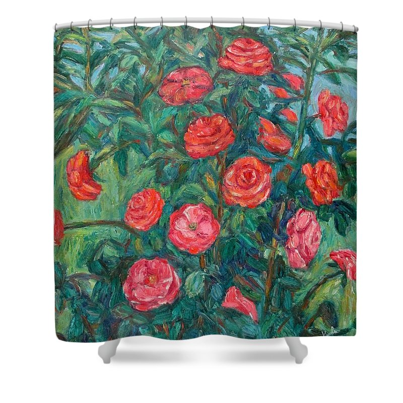 Rose Shower Curtain featuring the painting Spring Roses by Kendall Kessler