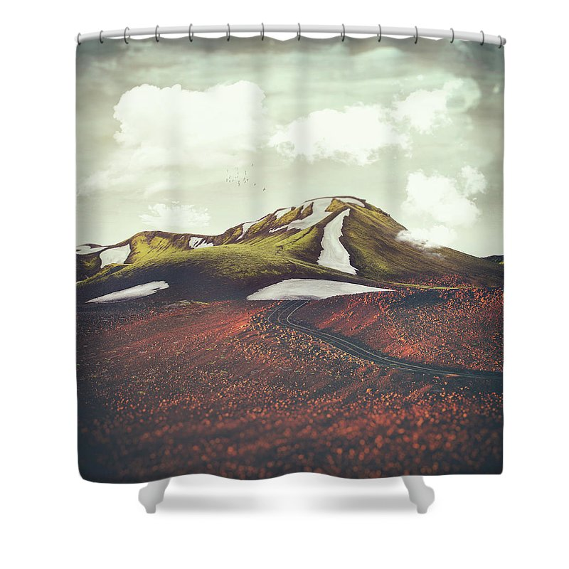 Landscape Spring Winter Dreamscape Hills Mountains Shower Curtain featuring the digital art Spring Thaw by Katherine Smit