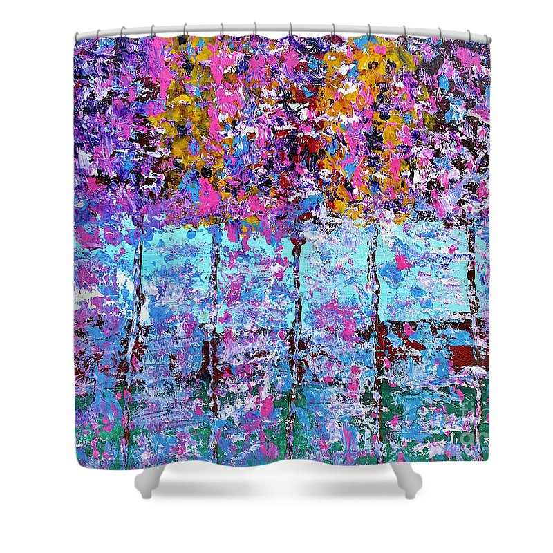 Trees Shower Curtain featuring the painting Spring Time In The Woods Abstract Oil Painting by Saundra Myles
