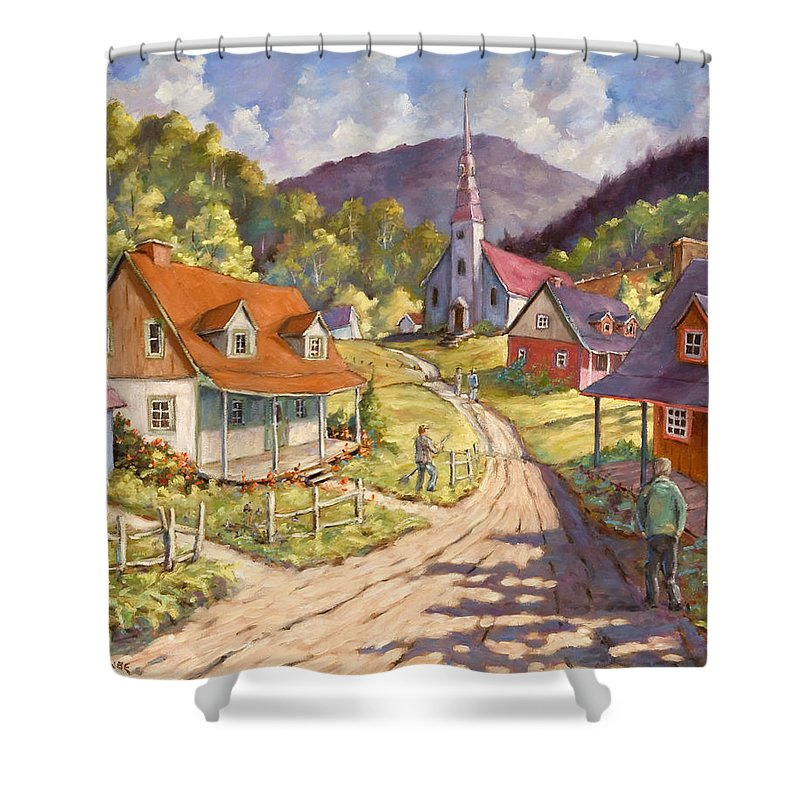 Art Shower Curtain featuring the painting Spring Time Sun by Richard T Pranke