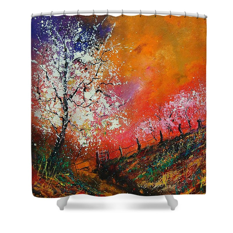 Spring Shower Curtain featuring the painting Spring Today by Pol Ledent