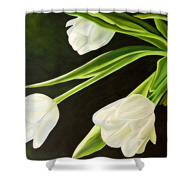 Tulips Shower Curtain featuring the painting Spring Tulips by Toni Grote