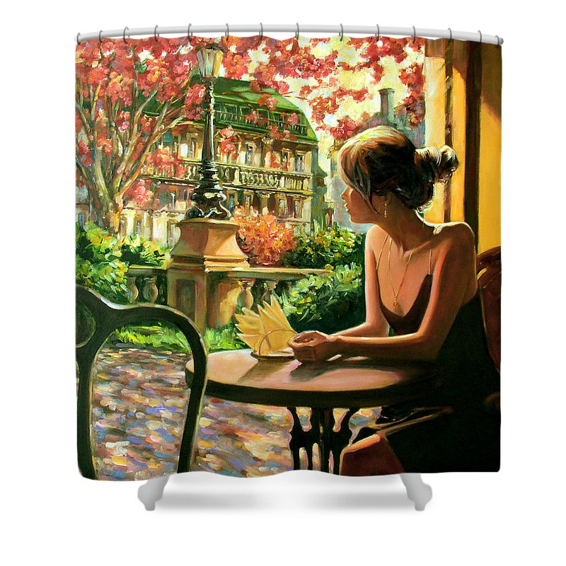 Spring Shower Curtain featuring the painting Spring, View From A Cafe Window In Paris by Roman Fedosenko