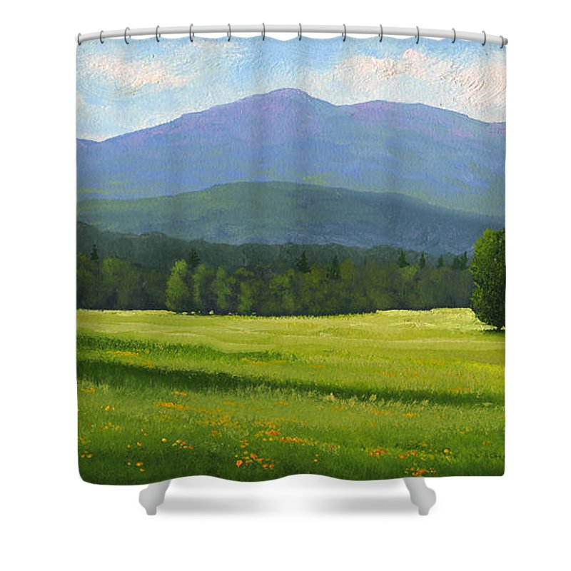 Landscape Shower Curtain featuring the painting Spring Vista by Frank Wilson