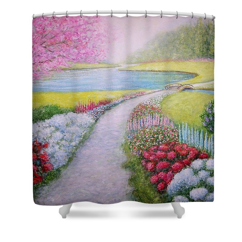 Landscape Shower Curtain featuring the painting Spring by William H RaVell III