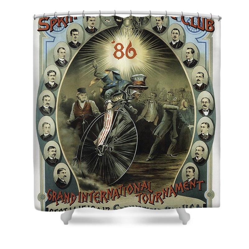 Bicycle Shower Curtain featuring the photograph Springfield Bicycle Club 1886 by Daniel Hagerman