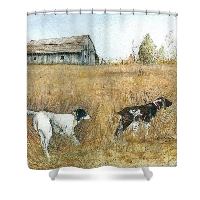 Springfield Shower Curtain featuring the painting Springfield Bird Dogs by Robin Martin Parrish