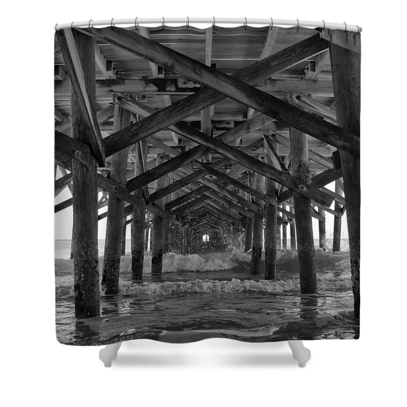 Springmaid Pier Shower Curtain featuring the photograph Springmaid Pier In Myrtle Beach South Carolina by Stephanie McDowell