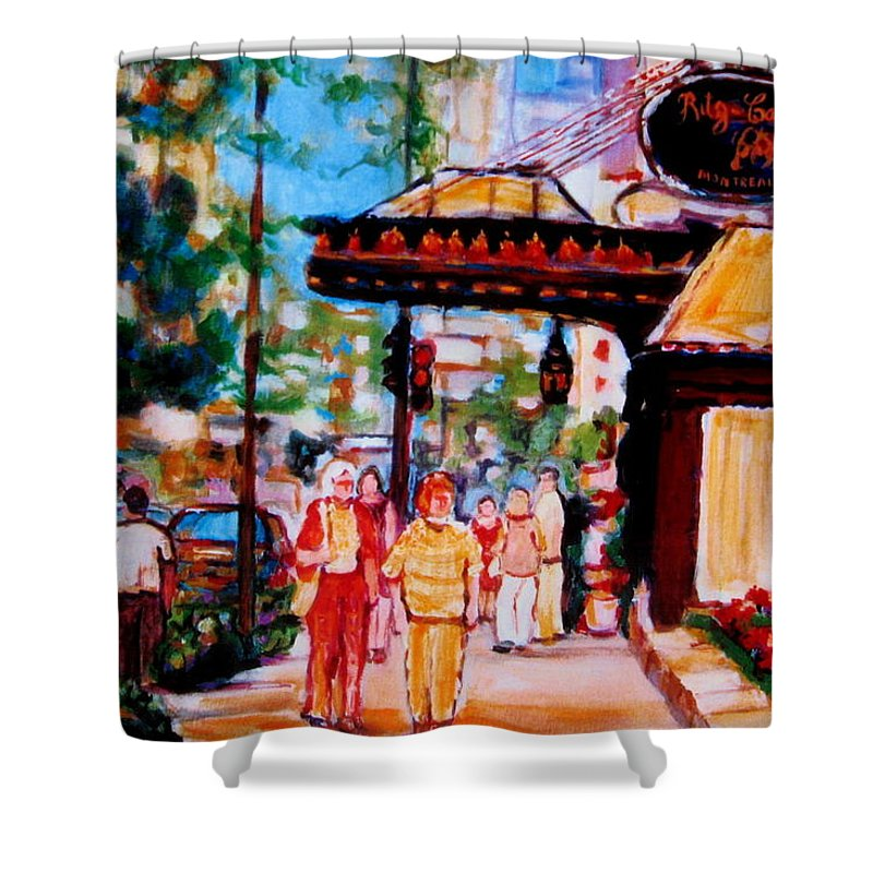 Montreal Streetscenes Shower Curtain featuring the painting Springtime At The Ritz by Carole Spandau