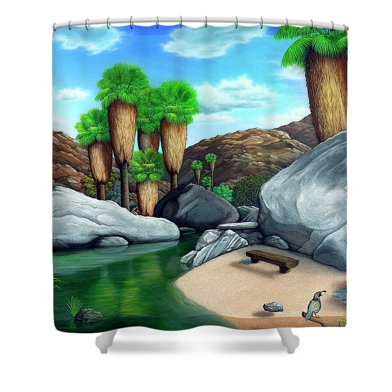 Landscape Shower Curtain featuring the painting Springtime In The Canyons by Snake Jagger