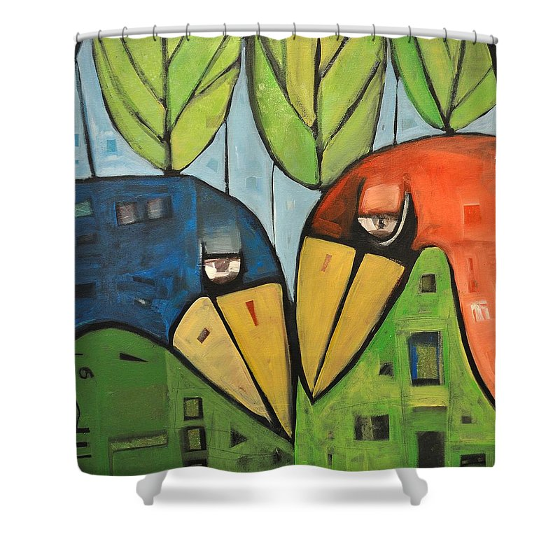 Birds Shower Curtain featuring the painting Springtime Lovebirds by Tim Nyberg