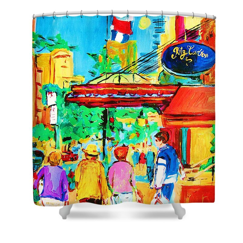 Paintings Of The Ritz Carlton On Sherbrooke Street Montreal Art Shower Curtain featuring the painting Springtime Stroll by Carole Spandau