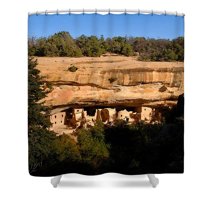 Art Shower Curtain featuring the painting Spruce Tree House by David Lee Thompson