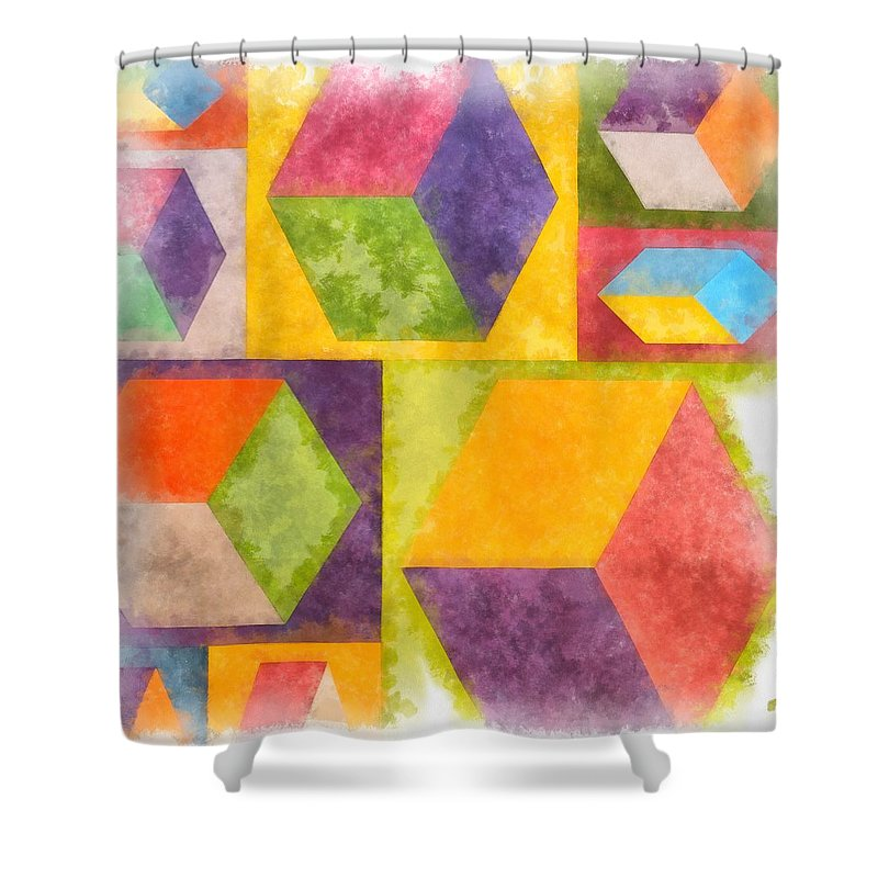 Painting Shower Curtain featuring the painting Square Cubes Abstract by Edward Fielding