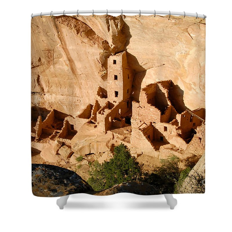 Square Tower Shower Curtain featuring the photograph Square Tower Ruin by David Lee Thompson