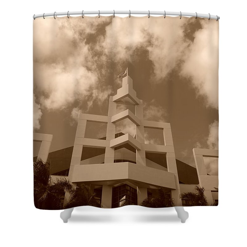 Architecture Shower Curtain featuring the photograph Squares In The Sky by Rob Hans