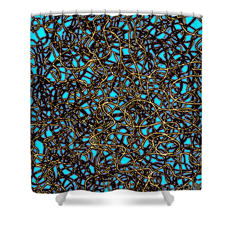 Abstract Digital Art Shower Curtain featuring the digital art Squiggle 6 by Andy Mercer