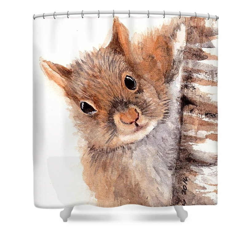 Squirrel Shower Curtain featuring the painting Squirrel by Sherry Jarvis