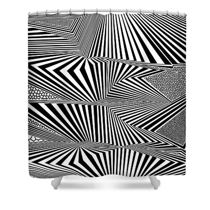 Dynamic Black And White Shower Curtain featuring the digital art Ssergorp by Douglas Christian Larsen