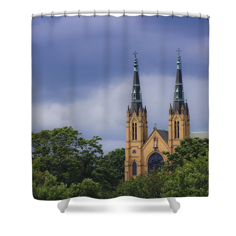 Saint Shower Curtain featuring the photograph St Andrews Catholic Church Roanoke Virginia by Teresa Mucha