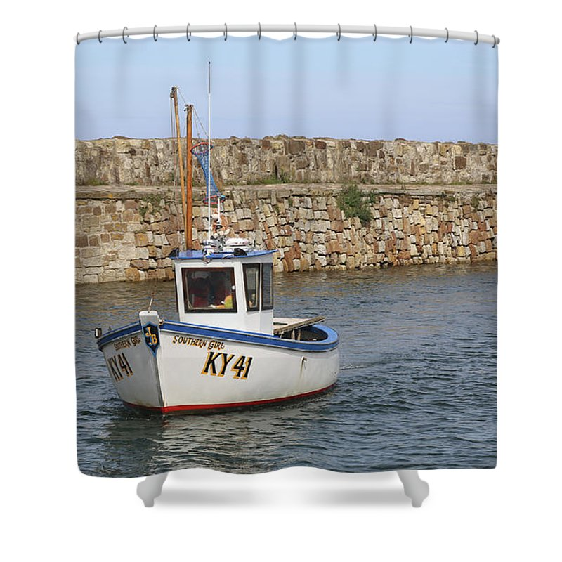 Fifecoast Shower Curtain featuring the photograph St Andrews Harbour by Ken Stearn