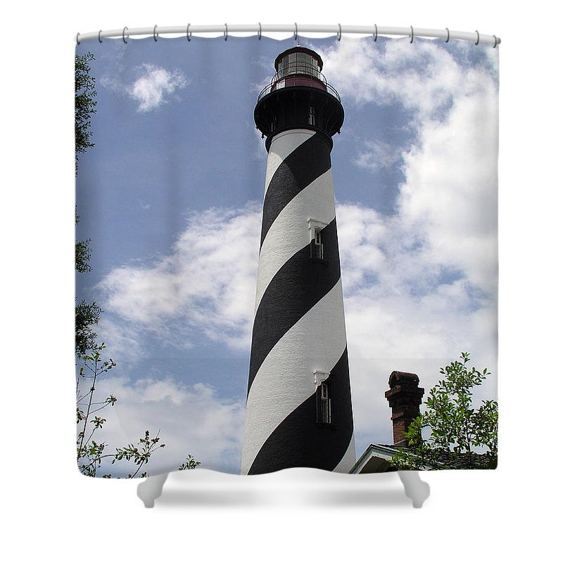 Lighthouse; Light; House; Keeper; St. Augustine; Florida; Coast; Shine; Fog; Storms; U.s.; Coast; Gu Shower Curtain featuring the photograph St Augustine Florida Light by Allan Hughes