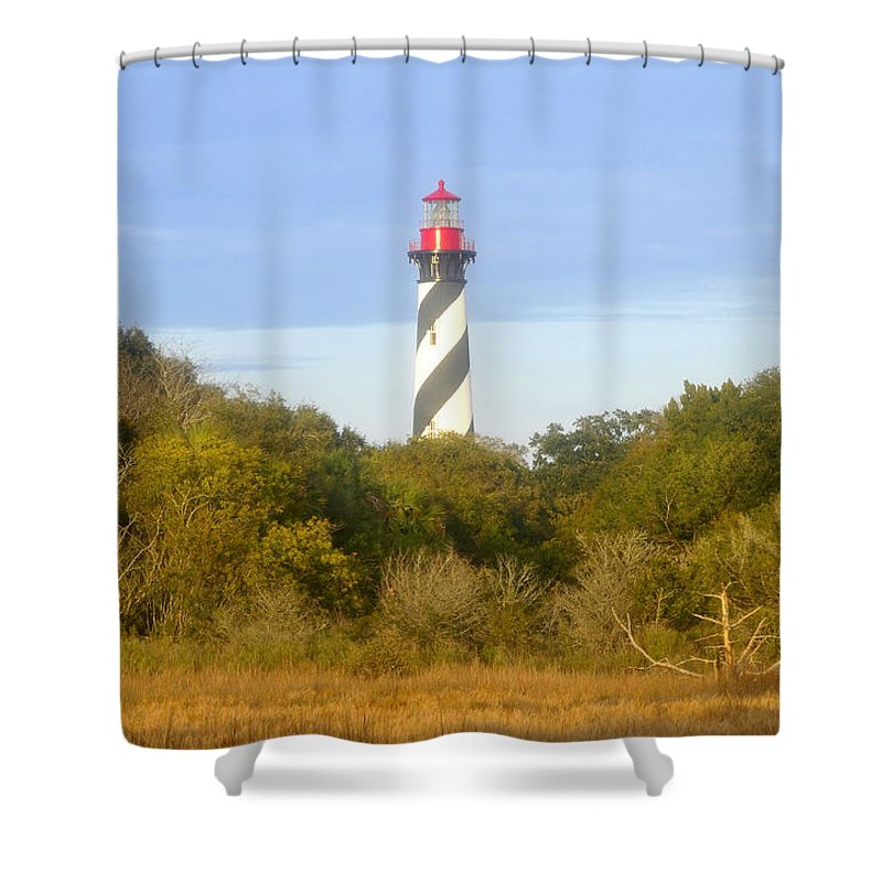 St. Augustine Florida Shower Curtain featuring the photograph St. Augustine light house by David Lee Thompson