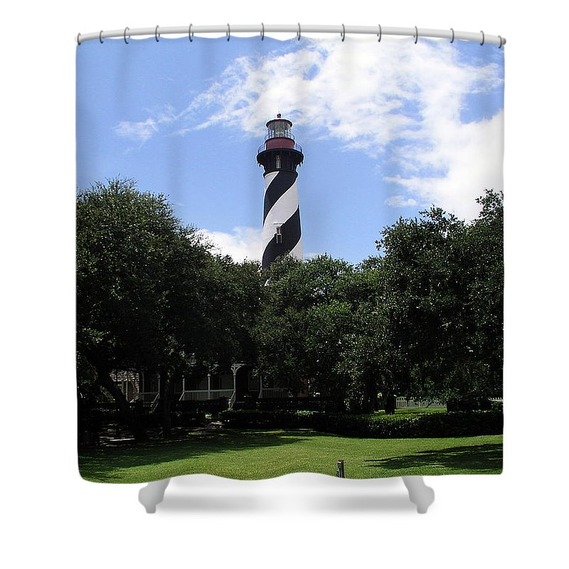Lighthouse; Light; House; Keeper; St. Augustine; Florida; Coast; Shine; Fog; Storms; U.s.; Coast; Gu Shower Curtain featuring the photograph St. Augustine Light In Florida by Allan Hughes