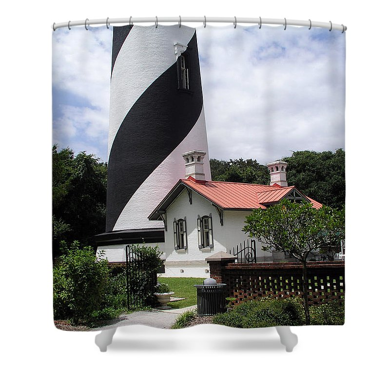 Cottage; Residence; Lighthouse; Light; House; Keeper; St. Augustine; Florida; Coast; Shine; Fog; Sto Shower Curtain featuring the photograph St. Augustine Light On The East Coast Of Florida by Allan Hughes
