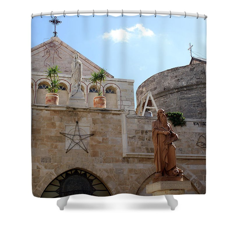 Bethlehem Shower Curtain featuring the photograph St Catherine Church by Munir Alawi