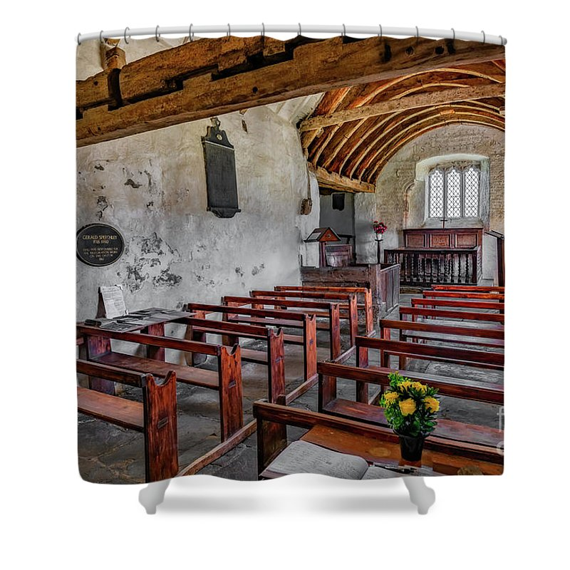 St Celynnin Shower Curtain featuring the photograph St Celynnin Church Interior by Adrian Evans